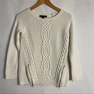 INC Cream Cable Knit Sweater with zipper detail-S